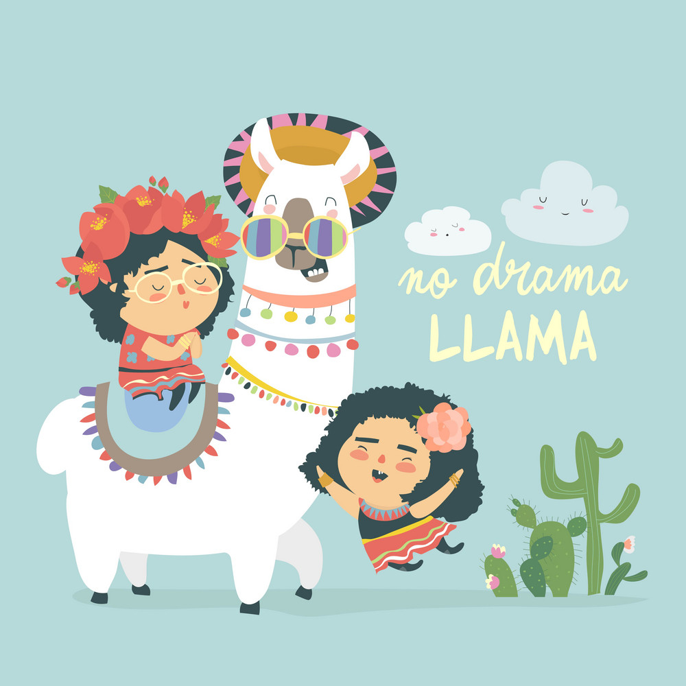Funny llama alpaka with cute mexican girls